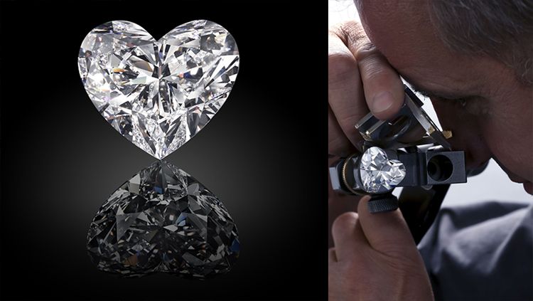 A heart shape diamond must be perfectly faceted and entirely symmetrical to ensure a perfect silhouette and exquisite scintillation - its shape is a work of art in the hands of the master cutter.